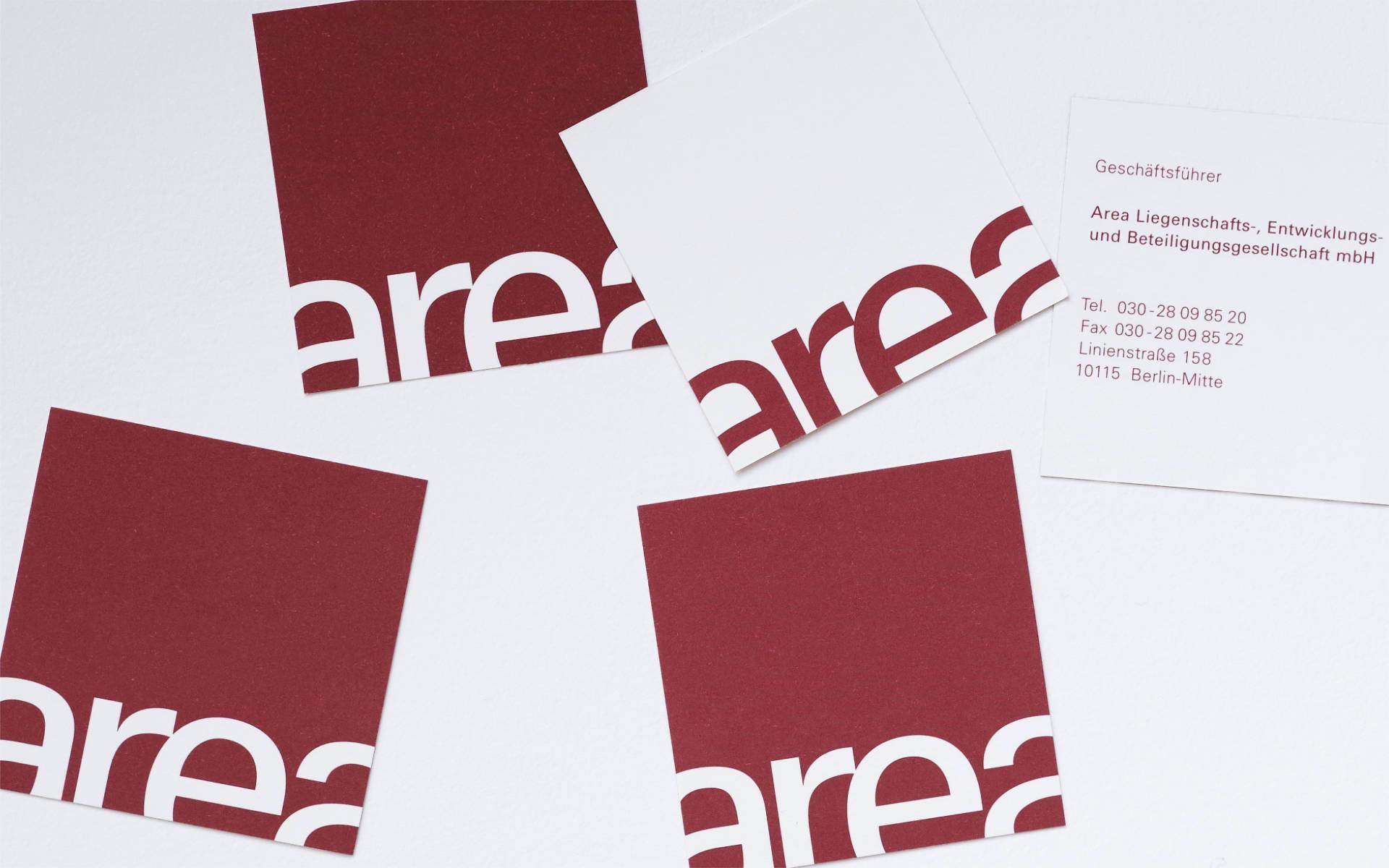 area Immobilien Entwicklung Visitenkarten Logoentwicklung