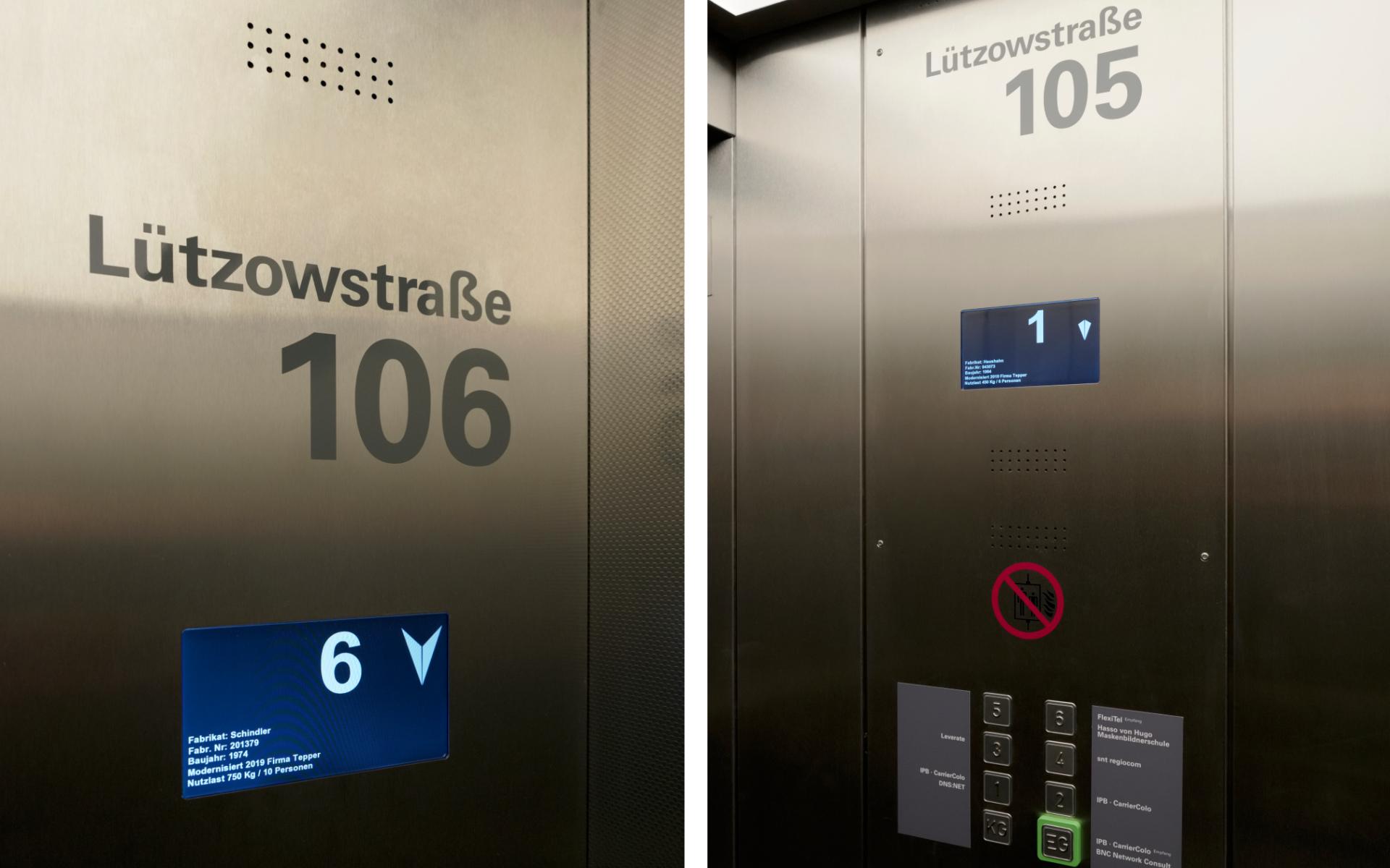 Luetzow-Buerohaus-Aufzug-Beschriftung-Design-Berlin