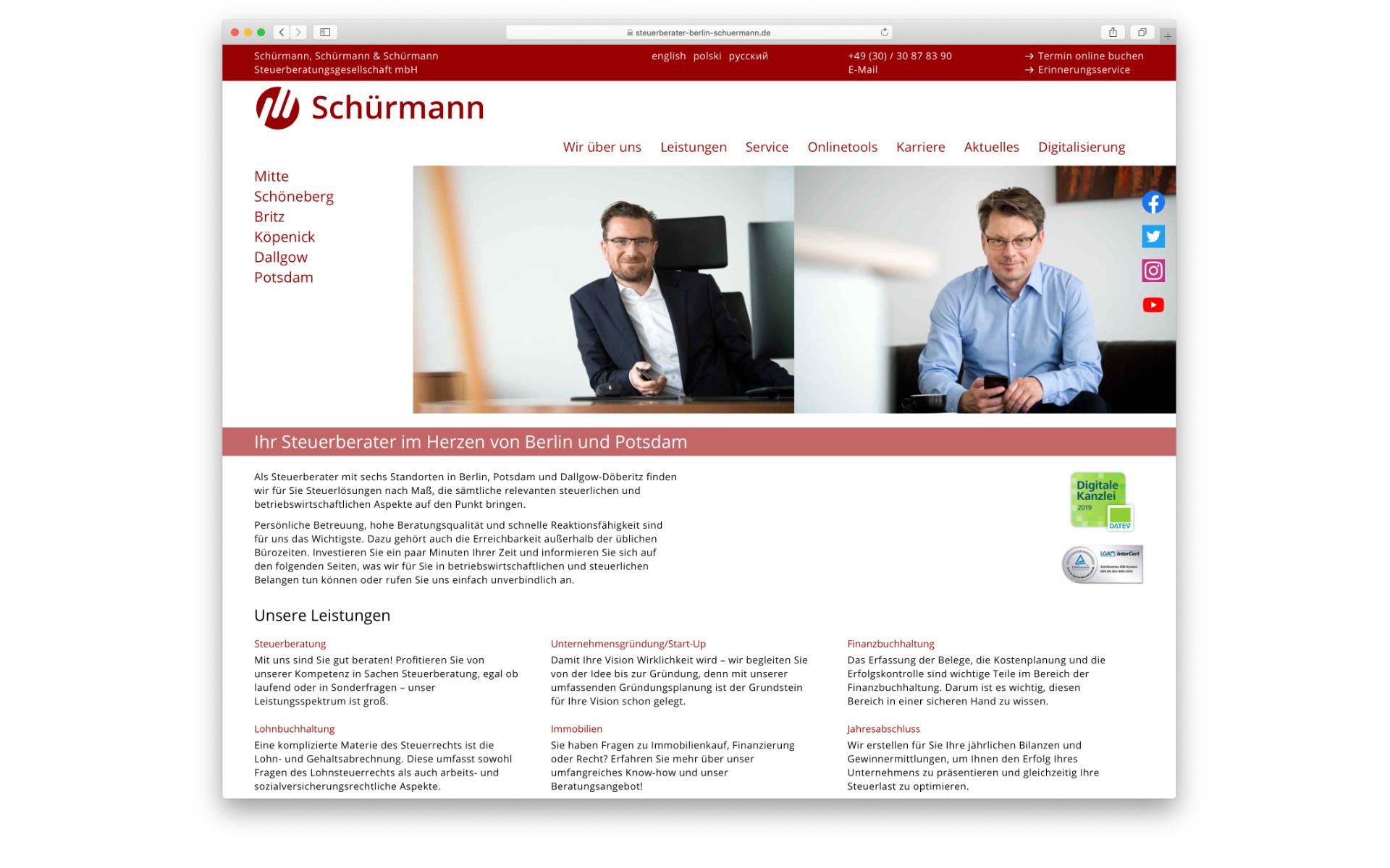 Schuermann Steuerberatung Webdesign Webauftritt Berlin
