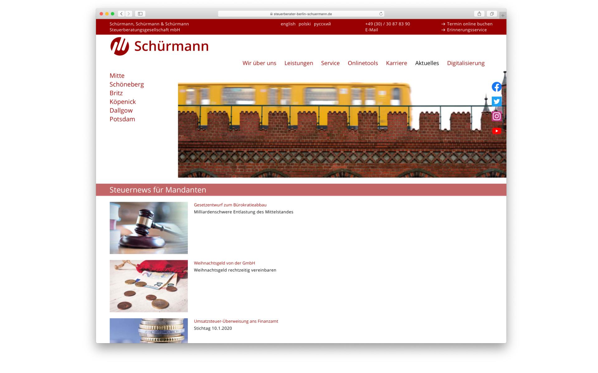 Schuermann Steuerberater Webdesign CMS System