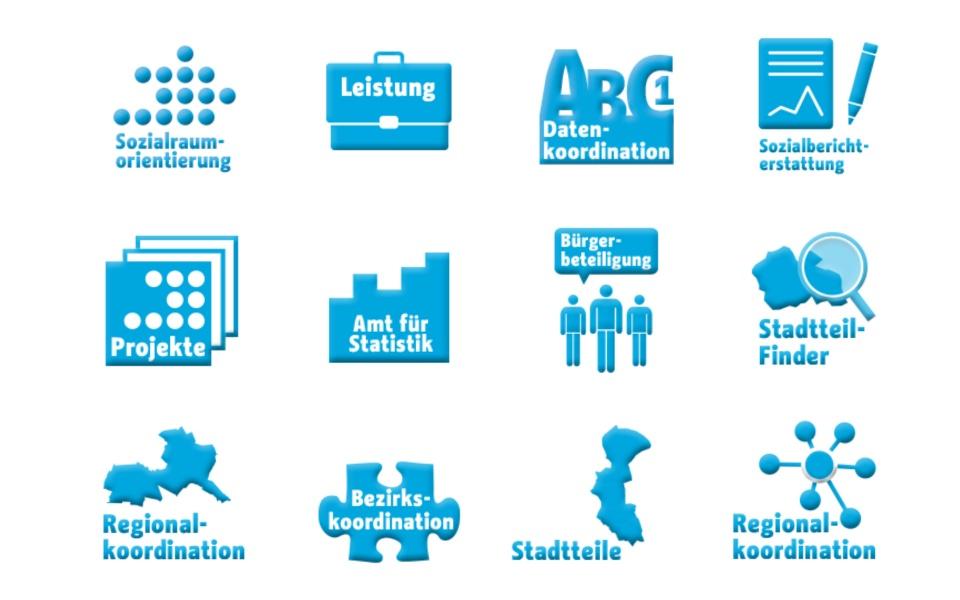 Sozialraumorientierte Planungskoordination Icons Design Piktogramme