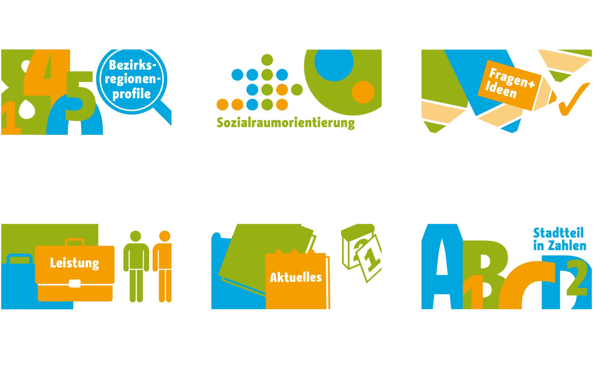 Sozialraumorientierte Planungskoordination Webdesign Design Piktogramme Berlin UV2
