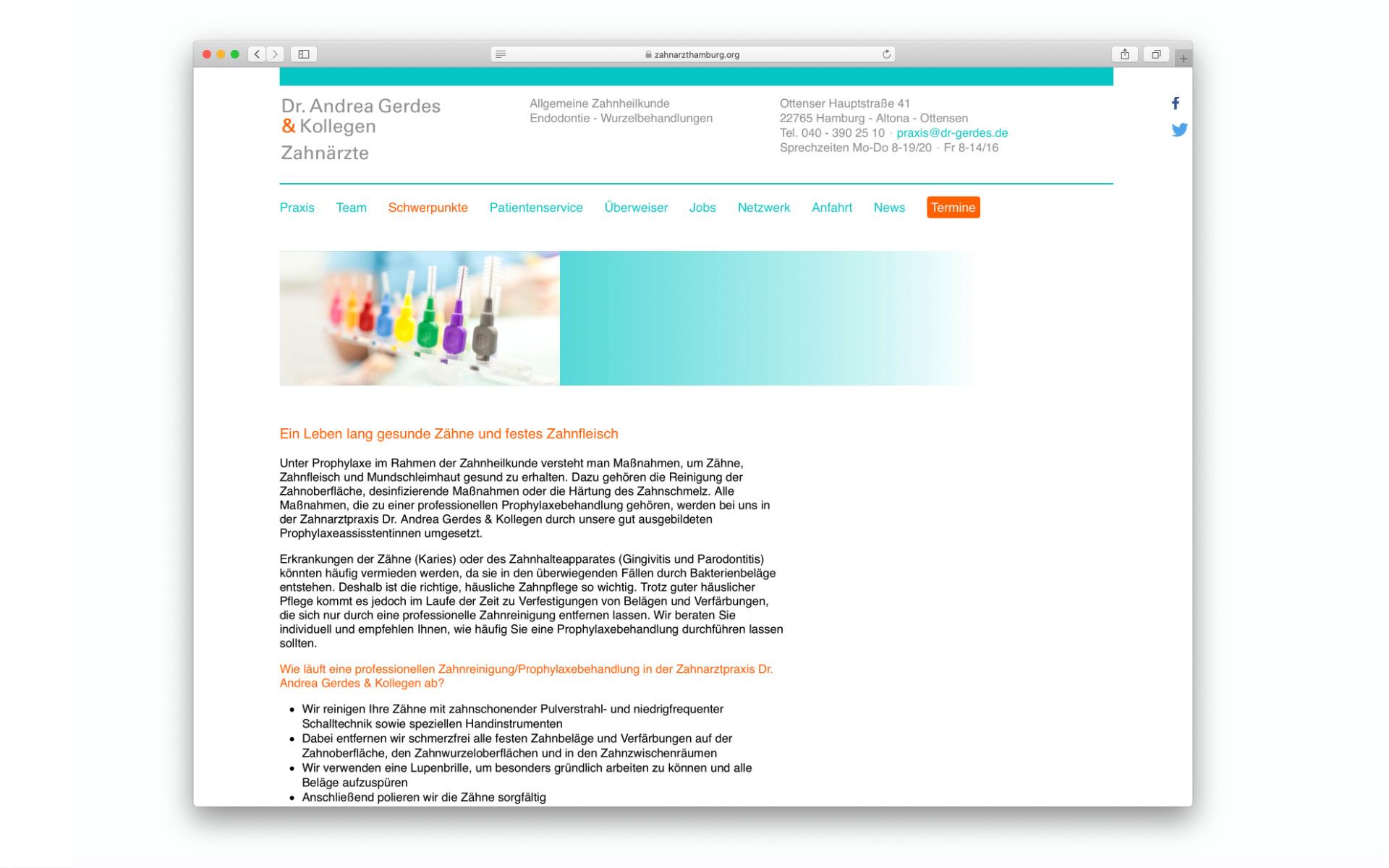 Zahnaerztin Zahnarztpraxis Webdesign Webauftritt Design Berlin UV2