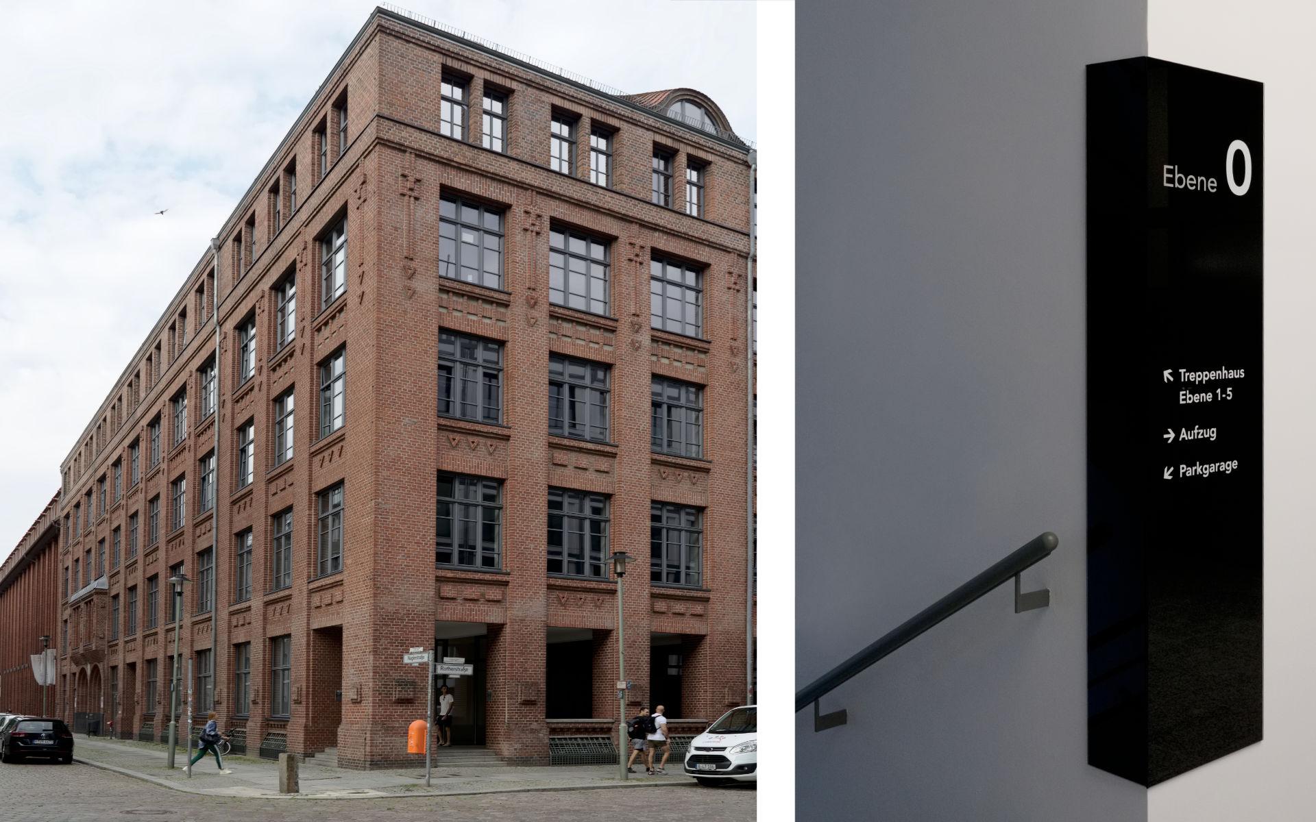 Oberbaumcity Mieteruebersicht Buerohaus Beschilderung Leitsystem Design Berlin UV2